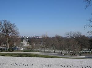 across the cemetery