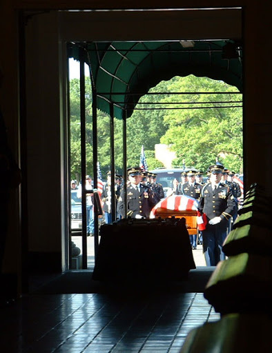 entering casket